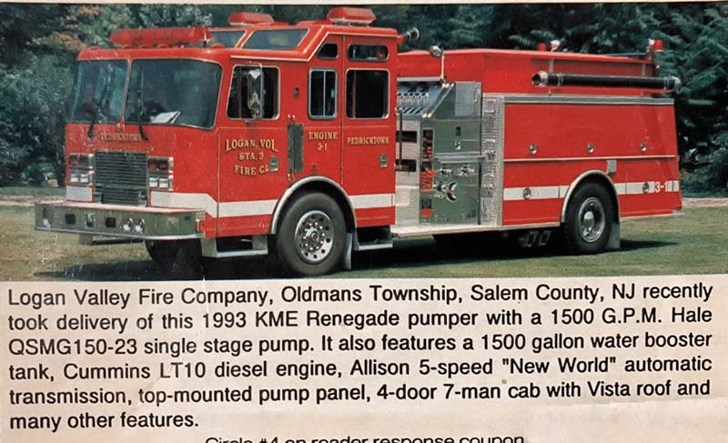 Newspaper article on new fire truck