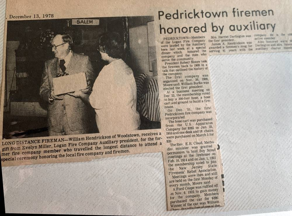 Newspaper article - Pedricktown firemen honored by auxilliary