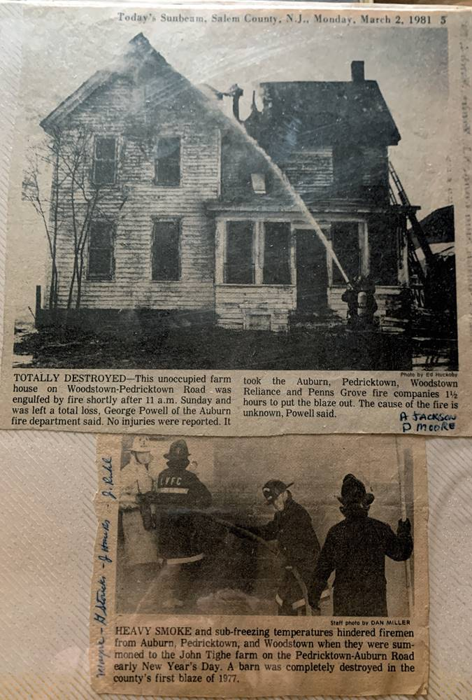 Newspaper clipping of house destroyed by fire in 1981