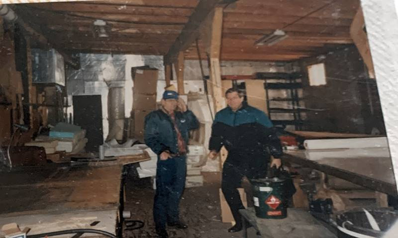 Old photograph - Barlow and Skip in the upholstery shop