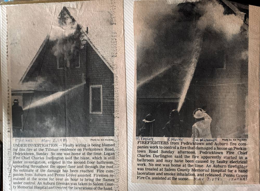 Newspaper clipping from March 1981 stating faulty wiring blamed for fire that destroyed a house.