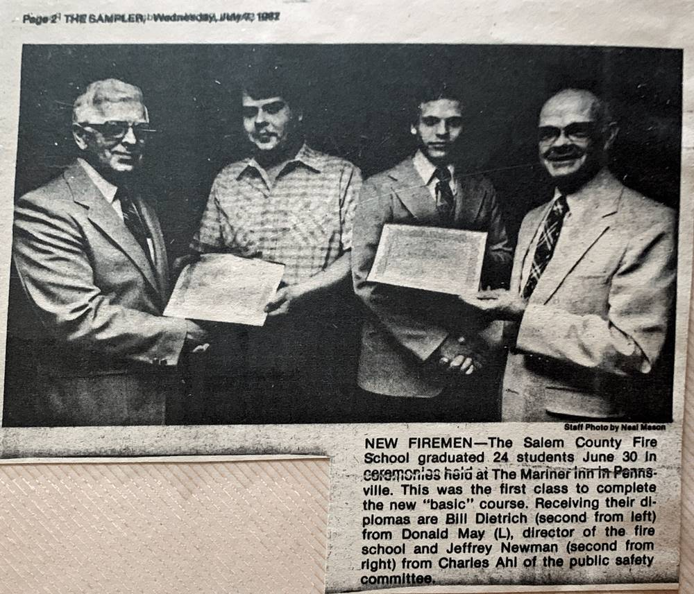 Newspaper clipping of graduating fire class in June 1982