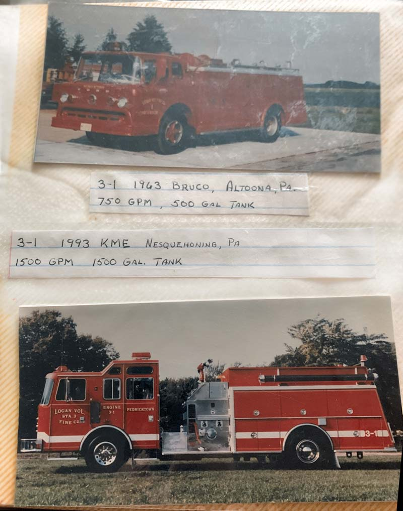Photos of two firetrucks in physical photo album