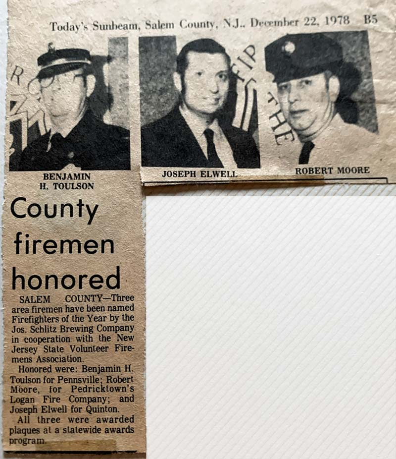 Newspaper article - Three Salem County firemen named Firefighters the Year 1978