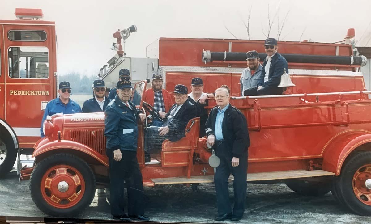 Members on firetruck