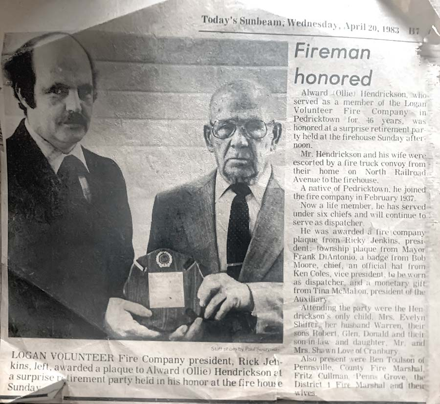 Newspaper article of fireman being honored